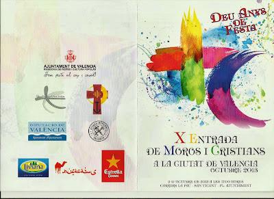 Orden de salida X Entrada de Moros y Cristianos de la Ciudad de Valencia