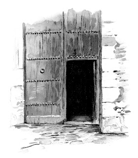 door wooden illustration vintage image