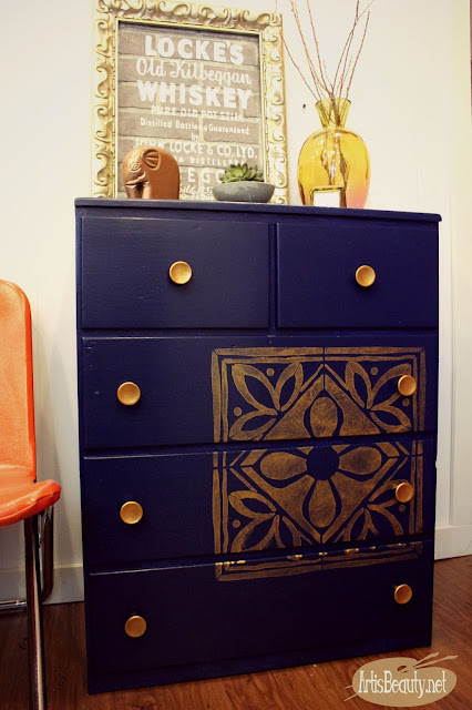 beautiful blue denim satin enamels navy blue dresser bohemian copper stencil hardware makeover
