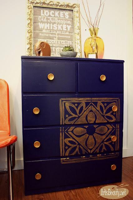 beautiful blue denim satin enamels navy blue dresser bohemian copper stencil hardware makeover