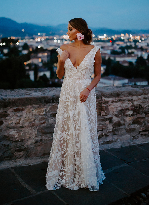 3D lace wedding dress is just one of many wedding dresses from our collection at She Wore Flowers. This lace low back wedding dress is perfect for all bridal styles, from vintage to luxe.