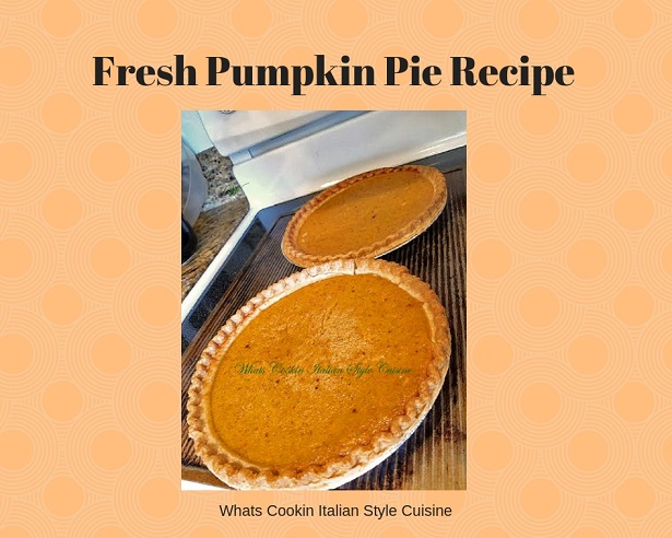 this is fresh baked homemade pumpkin pie made with fresh homemade pumpkin puree and homemade pie crust. The puree was made in a slow cooker and the pies are cooling on the the stove top.