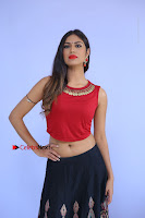 Telugu Actress Nishi Ganda Stills in Red Blouse and Black Skirt at Tik Tak Telugu Movie Audio Launch .COM 0032.JPG