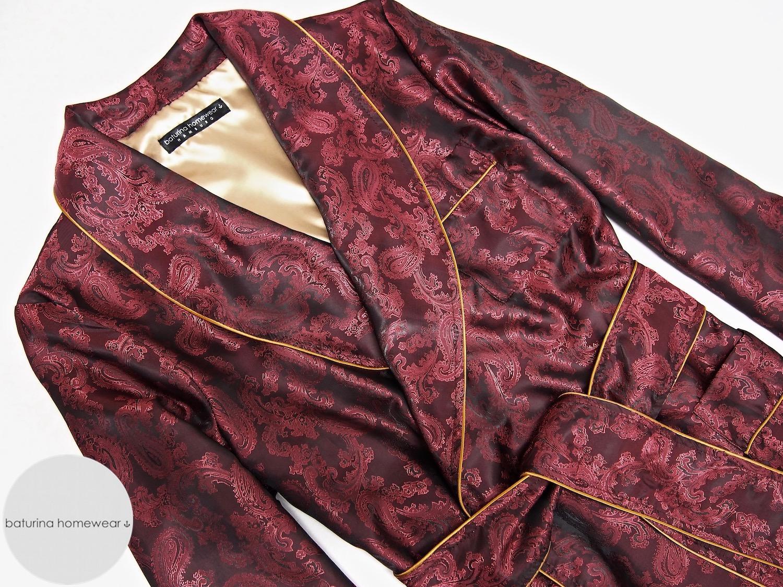 f788016cbe herren hausmantel rot seide paisley lang gefüttert edel elegant luxus  morgenmantel englisch dressing gown