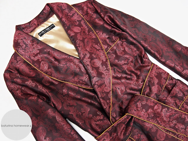 herren hausmantel rot seide paisley lang gefüttert edel elegant luxus morgenmantel englisch dressing gown