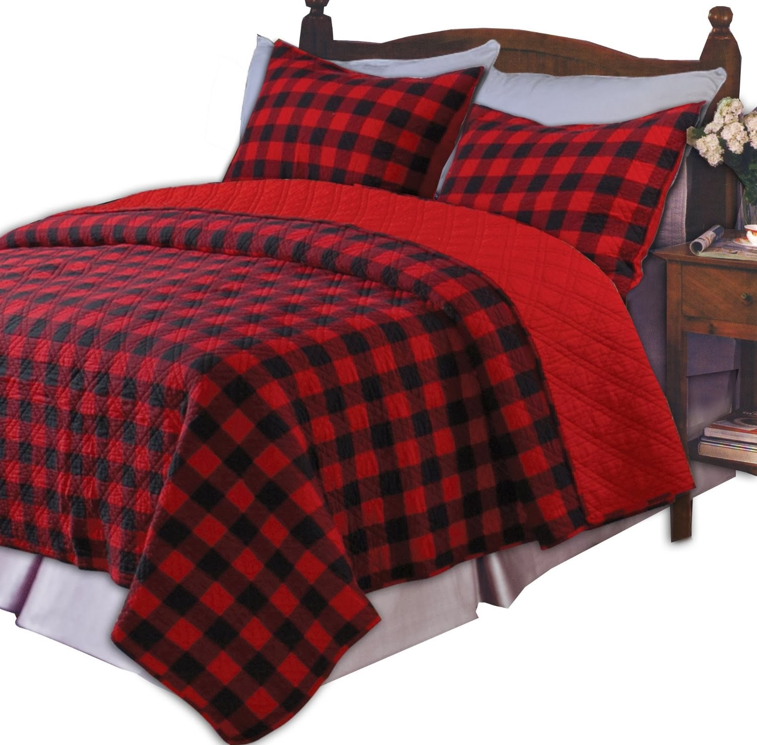 Greenland Home Western Plaid Red King Quilt Set