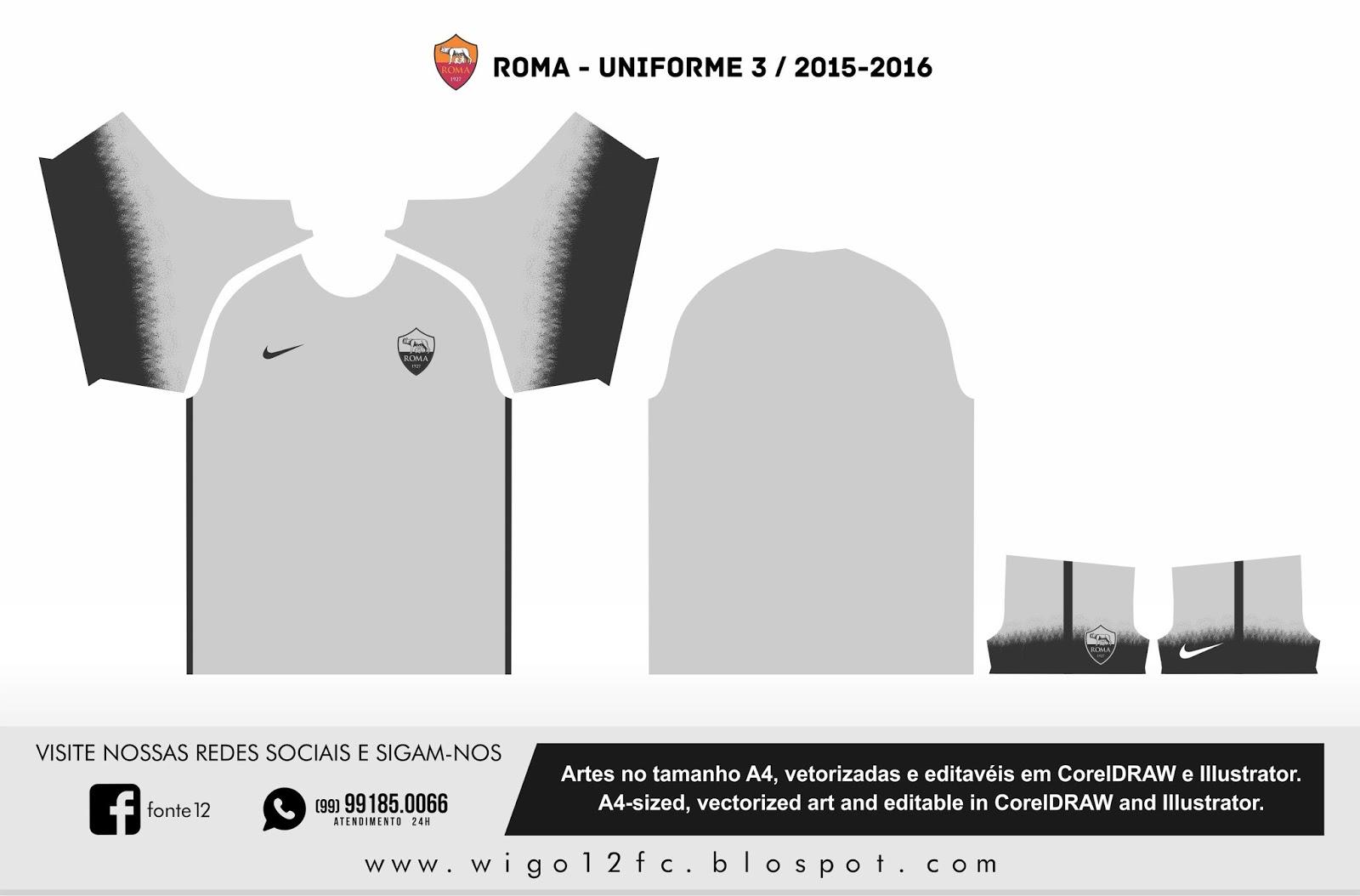 9dee188f25 Fontes Camisas de Futebol  Uniforme Roma 2015-2016