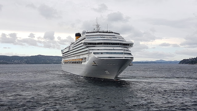 Cruise ship Costa Favolosa departs her berth in Bergen, Norway; Costa Cruises