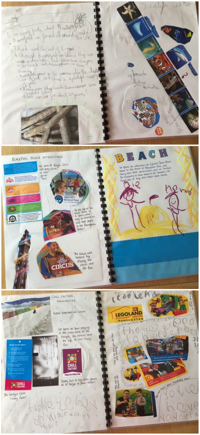 Pages from a child's holiday scrapbook