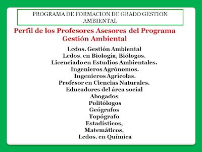 Perfil de los Profesores Asesores del Programa de Gestión Ambiental