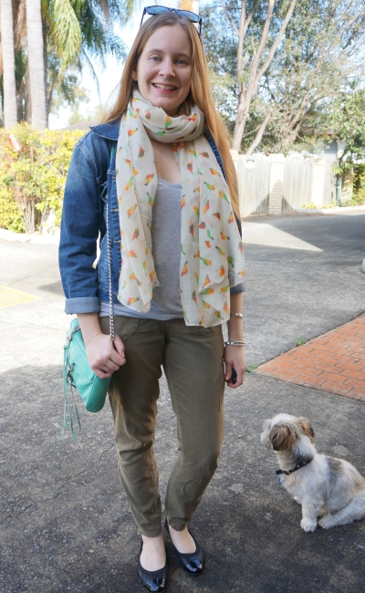 skinny cargo pants with parrot print scarf grey tee and denim jacket | away from blue