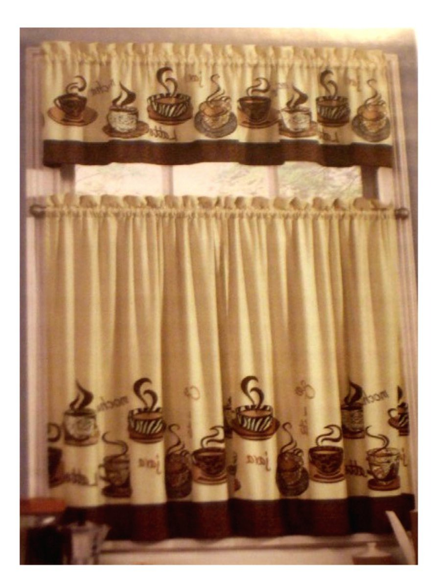 Coffee Themed Kitchen Curtains Tiers Valance Set Complete curtains ...