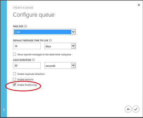 create a queue enable partitioning