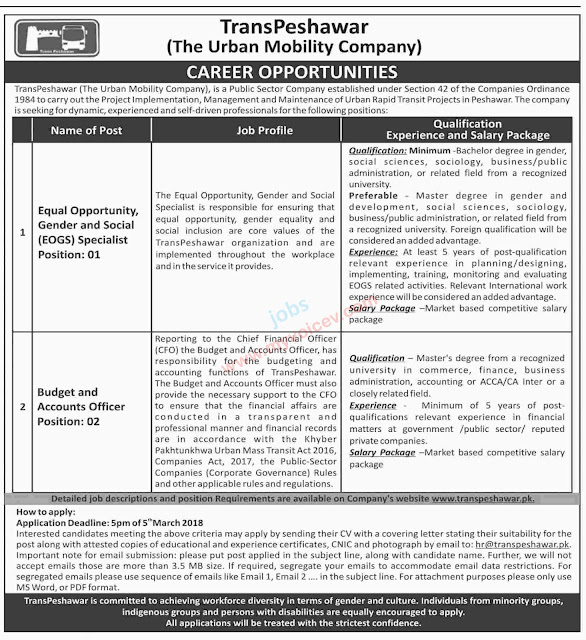 Jobs in Peshawar - TransPeshawar - The Urban Mobility Company requires the following positions - Apply by Mar 5, 2018