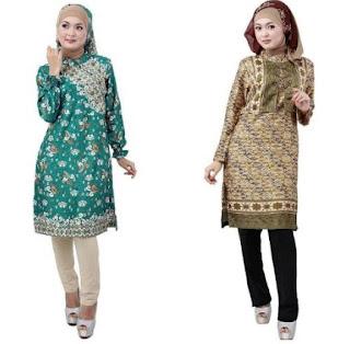 Busana batik casual hijab kombinasi celana