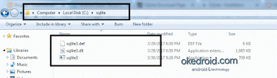 Lokasi folder sqlite di Kompute Windows