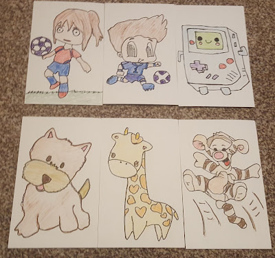 Hand Drawn Postcards, a girl footballer, a boy footballer, a happy game console, a dog, a giraffe, tigger bouncing!