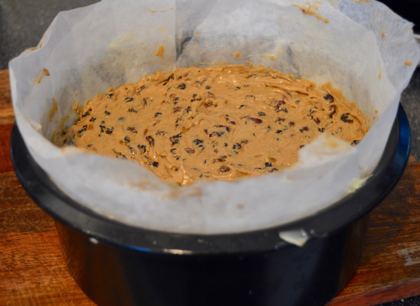 Easy Classic Christmas Cake Recipe (Inspired by Mary Berry) - cake mix in tin ready for oven