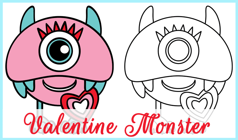 Freebie Valentine Monster. Colour and BW. By GradeONEderfulDesigns.com