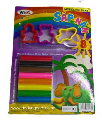 Sáp nặn WinQ  8 màu + khuôn hình (người, gấu, cá heo) (Mã số D-11)