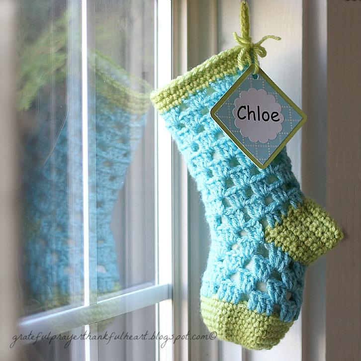 Lined Crochet Stocking For Chloe Grateful Prayer Thankful Heart