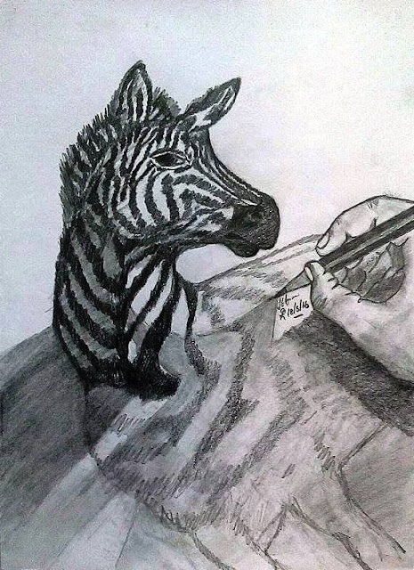 PENCIL DRAWING - 3D HORSE