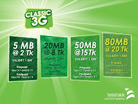Teletalk Classic 3G Pack Offer