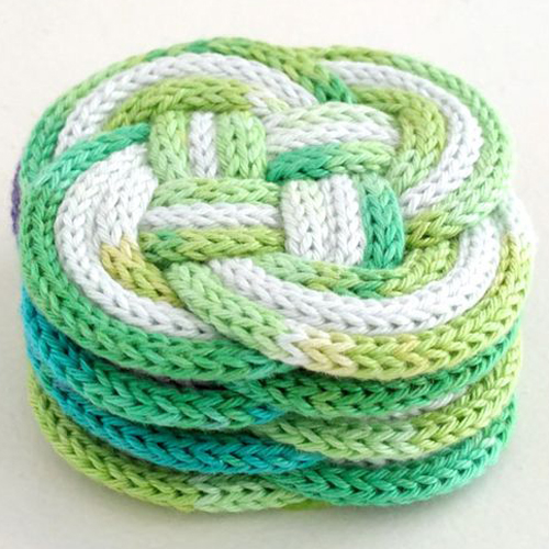 French Knitted Knotted Coasters - Free Pattern