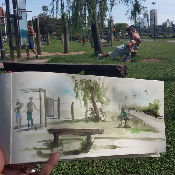 Ilustração que mostra um Urban Sketcher do parque Barigui, em Curitiba/PR.