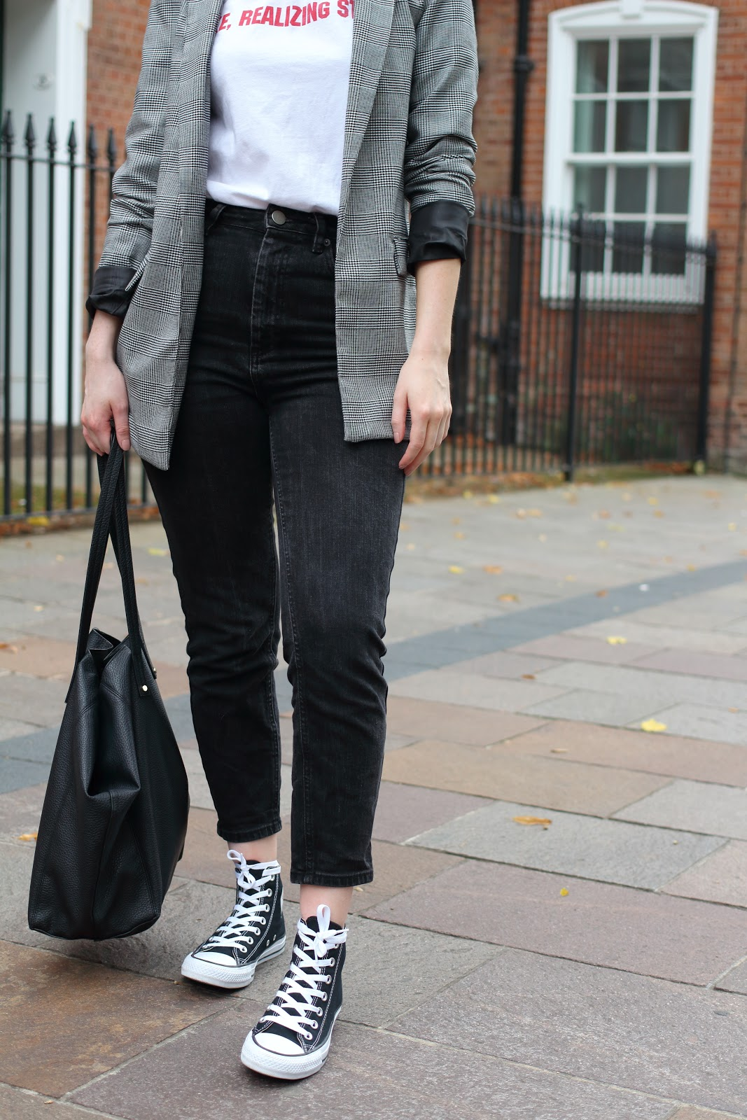 high top, converse, black, white, check, blazer, mom, jeans, t-shirt, tee, slogan, cheap, fashion, uk, blogger