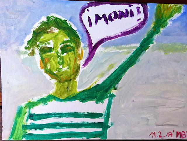 Pintura que muestra a un hombre, Miguel, vestido com una camiseta a rayas horizontales, tipica de Picasso, con la mano levantada, saludando a alguien llamado Moni, pintada en óleo sobre papel canson A4, 21 x 30 cm. y obra de EmeBeZeta