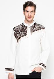 Baju Muslim Pria Kombinasi Polos dan Motif