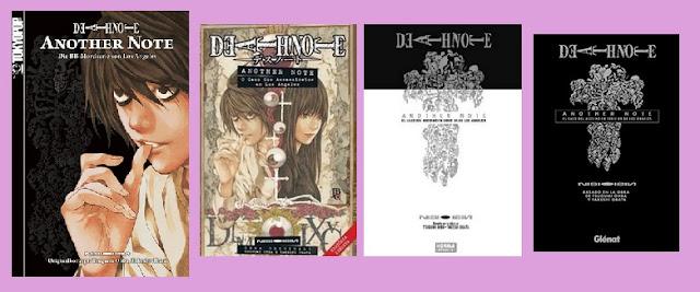 portadas de la novela de suspense de Death note Another Note, el caso del asesino en serie BB de Los Ángeles
