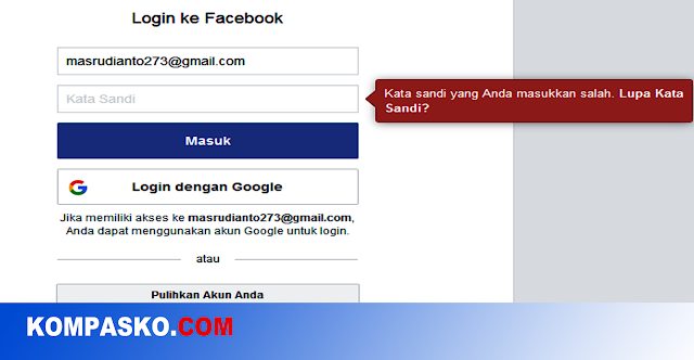 Facebook Lupa Kata Sandi/Password