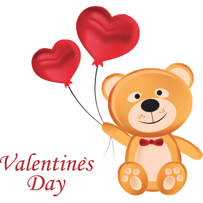 Valentine's Bear and Balloons