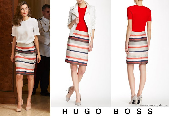 Queen Letizia wore BOSS HUGO BOSS Vistripy Pencil Skirt