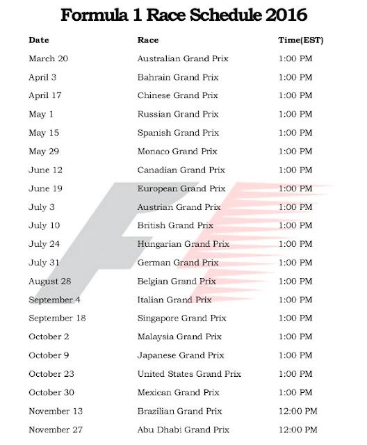 Formula 1 Race Schedule 2016