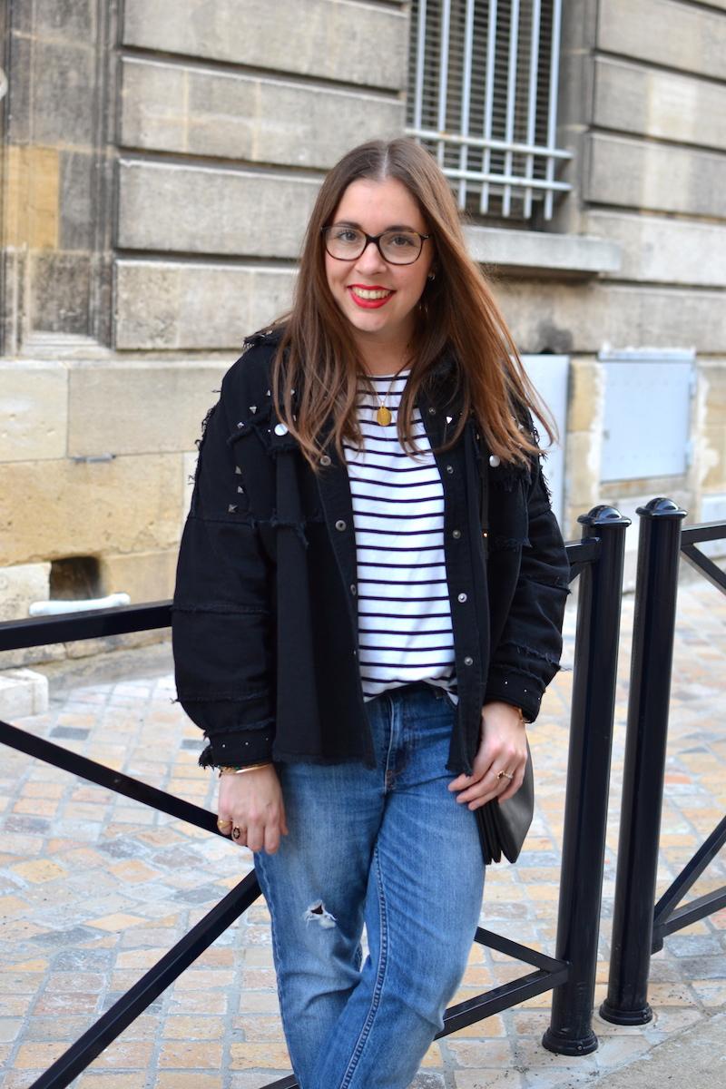 mariniére H&M, veste en jean noir clouté Shein, jean boyfriend H&M, trio bag Céline