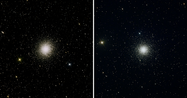 "M13, the ""Great Globular Cluster in Hercules (left) and M3, Globular Cluster i n Canes Venatici (right).  Images by Insight Observatory."