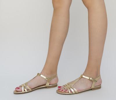 sandale aurii lejere de vara fara toc din piele eco