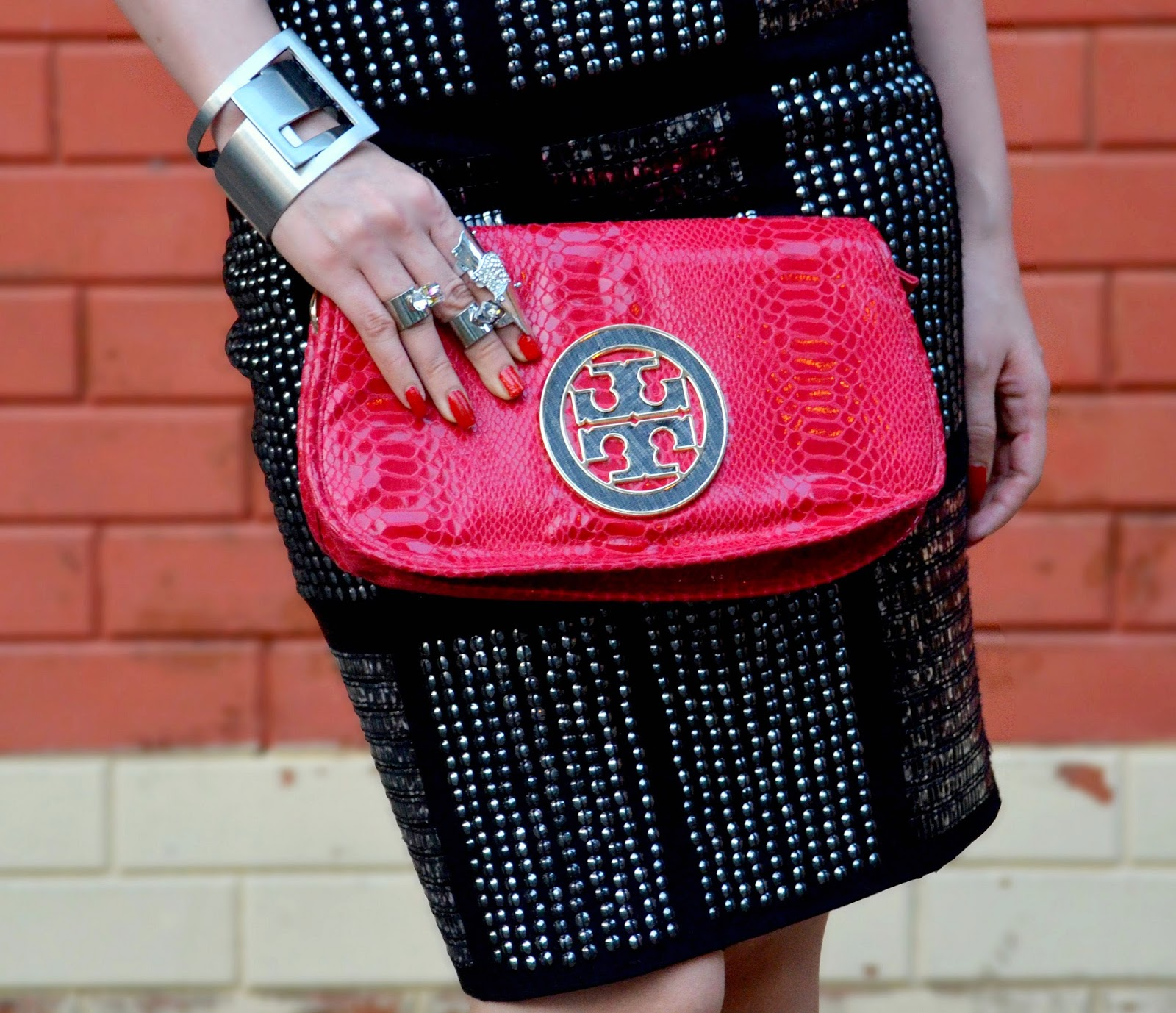Red Tory Burch Snakeskin Clutch