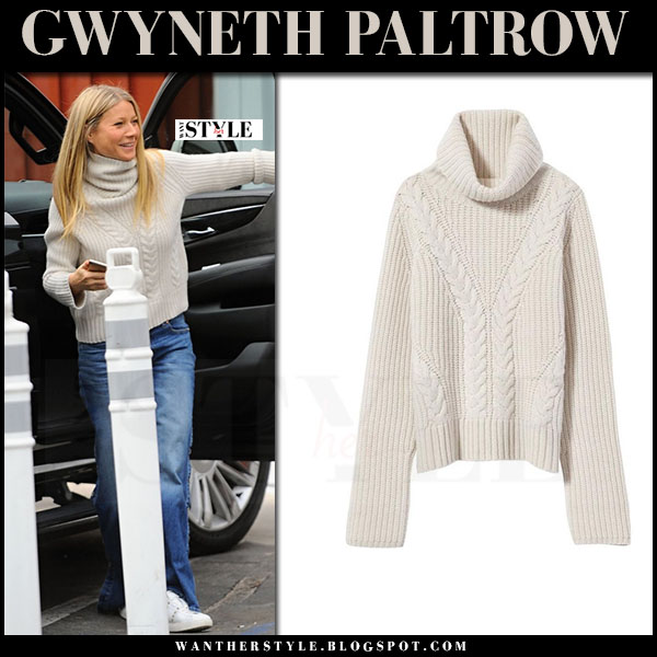 Gwyneth Paltrow in cream knit turtleneck sweater nili lotan and white sneakers valentino rockstud what she wore