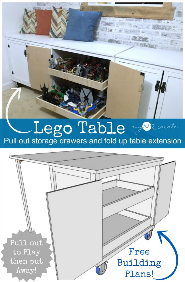 A Lego Table for the Kids and for mom, a DIY Storage lego table allows the kids to play and lets mom store the legos away!  MyLove2Create