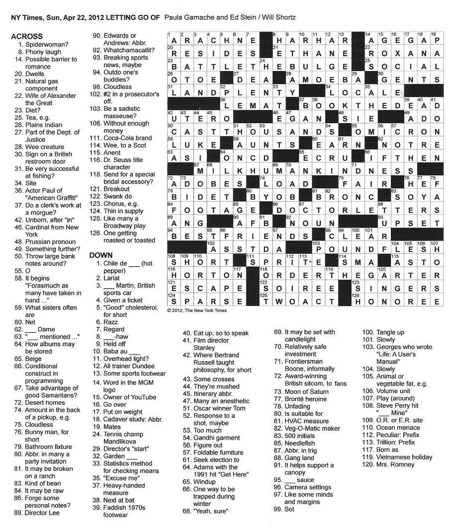 The New York Times Crossword in Gothic: 04.22.12 — Letting Go