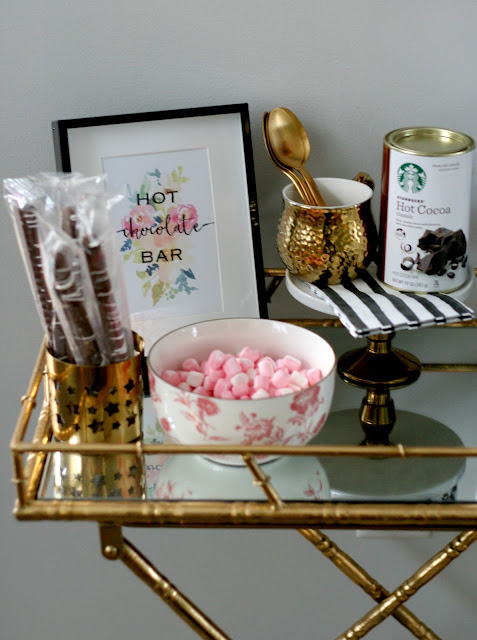 a holiday home tour with gold and metallics and a hot chocolate bar cart with free printable tons of decor ideas