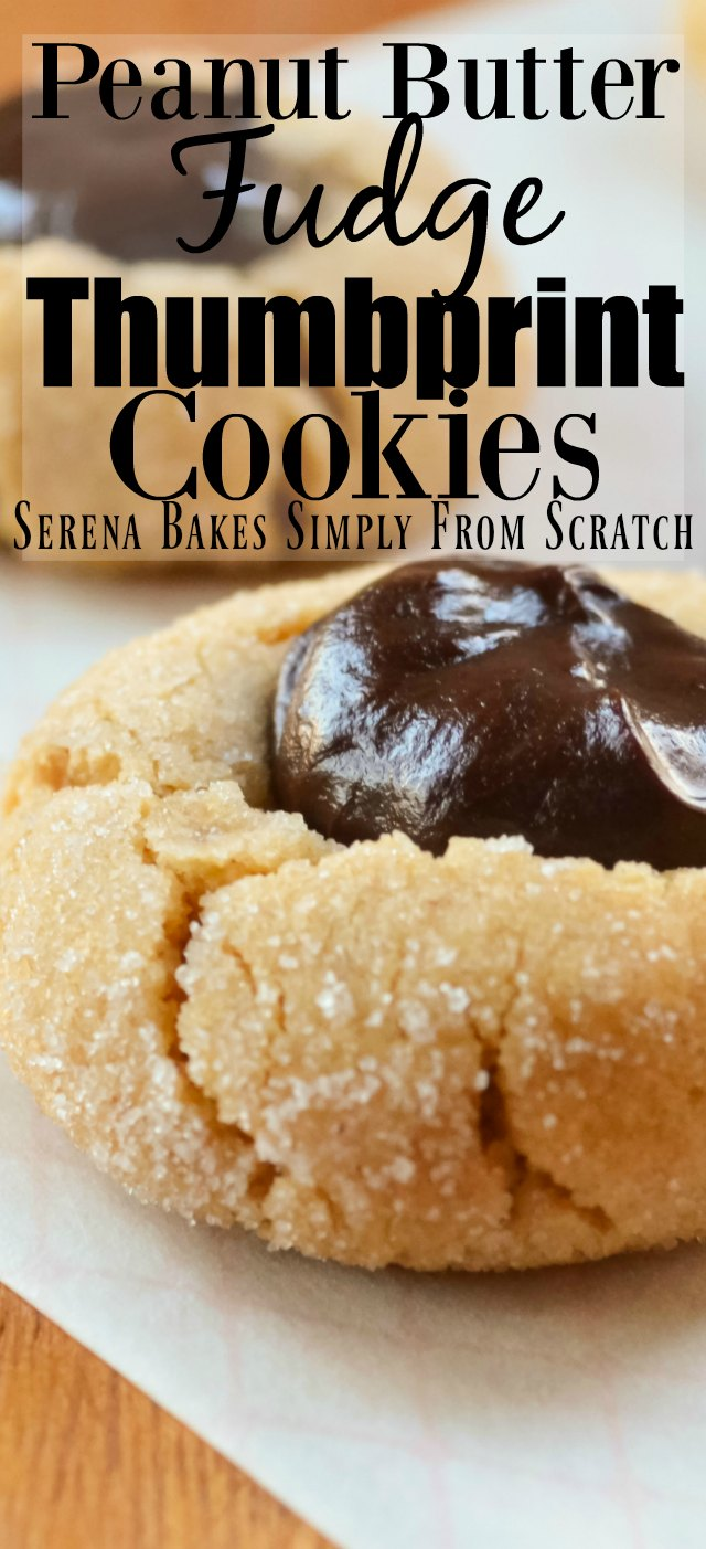 Peanut Butter Fudge Thumbprint Cookies from Serena Bakes Simply From Scratch.