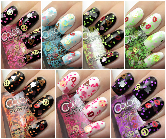 Color Club Emoji Emoticon Glitter Topper nail polish collection