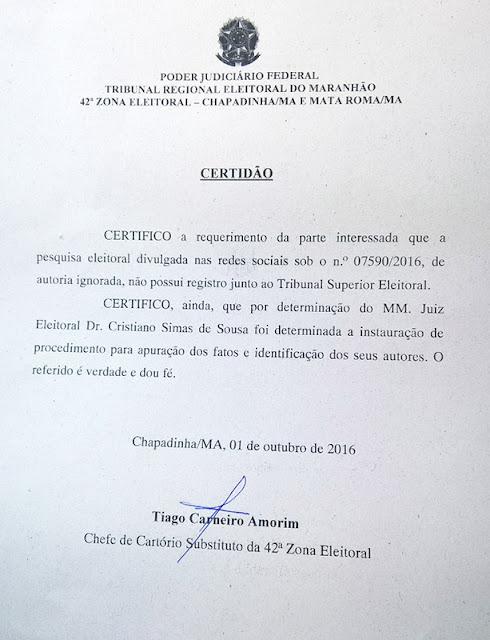 Chapadinha-MA: Justiça Eleitoral desmente pesquisa falsa de Bacelar