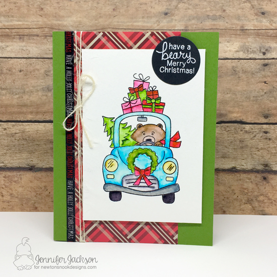 Inky Paws Challenge 37 - Plaid | Plaid Bear in Car Christmas Card by Jennifer Jackson | Winston's Home for Christmas Stamp set by Newton's Nook Designs