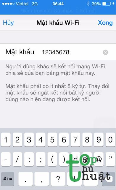 Hướng dẫn tạo điểm phát Wifi từ iPhone, iPad chạy iOS 11